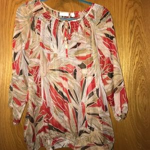 New York & Company Multi-color Sheer Top Size-XL